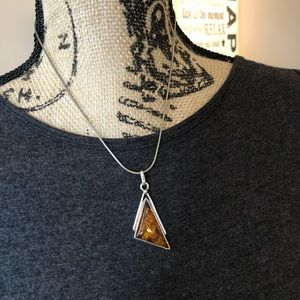 Amber & Sterling Silver Pendant & Chain